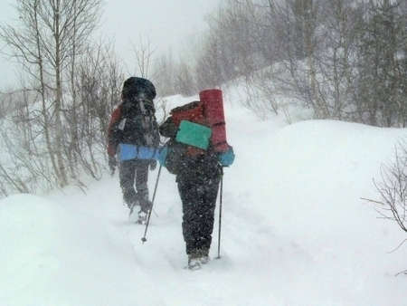 Winter, extreme, march, snow, tourists, expedition, snowstorm, blizzard, is bored, wood,active rest, rucksack, route, bad weather, nature, people, journey photo