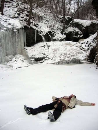 Waterfall, frost, girl, lies, liberty, rest, winter, cascade, ice, stone, nature, landscape, type, background, beauty, snow, river, water, earth layers, icicles, canyon, gorge photo