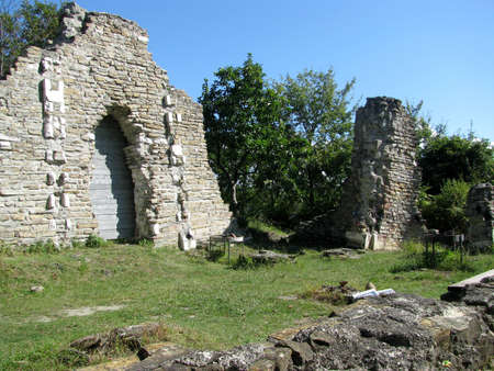 loo: The ruins of an ancient Byzantine church. Russia. Loo