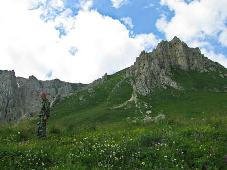 purposefulness: Active recreation and tourism in the mountains of the Caucasus Stock Photo