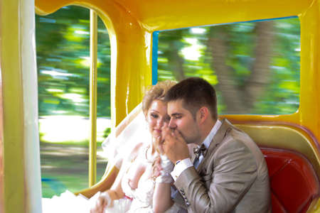 couples outdoors: Young married couple in the wedding day