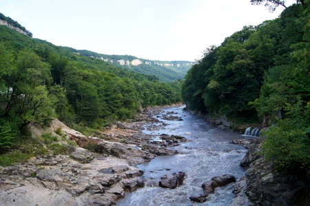 Sights of caucasus. The rivers and falls photo