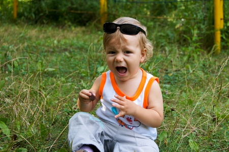 The amusing little boy on walk Stock Photo - 16272101