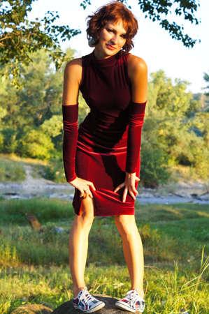 robe de soir�e: La jeune fille dans une robe de soir�e
