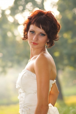 Pretty girl in a wedding dress Stock Photo - 18333710
