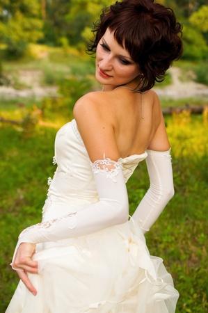 Pretty girl in a wedding dress Stock Photo - 18333703