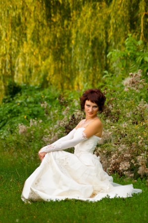 Pretty girl in a wedding dress Stock Photo - 18338436
