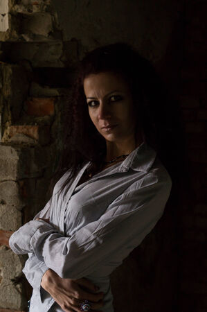portrait of a girl in an abandoned building Stock Photo - 25209125