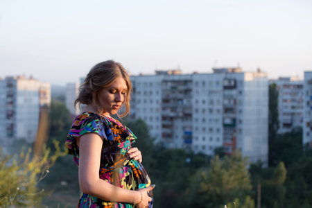 photo session in the nature cute pregnant girl Stock Photo