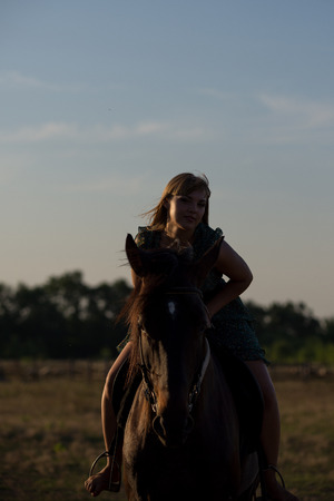 Young beautiful girl with a horse on nature Stok Fotoğraf