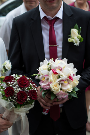 Chic and bright festive bouquet of flowers