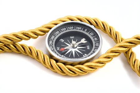 gold string: Compass isolated on white background Stock Photo