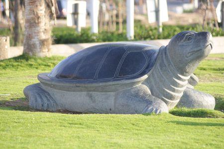 dispassionate: Sea turtle statue on a grass