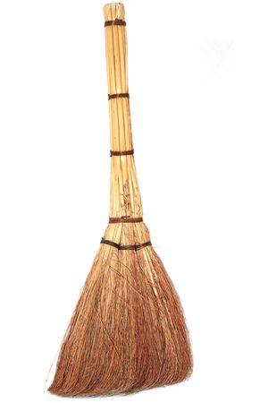 Broom on the white background Stock Photo