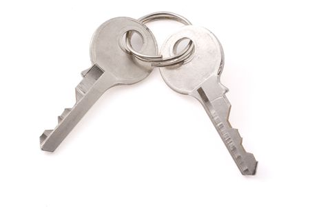Two small old keys isolated on white background Stock Photo - 3784850