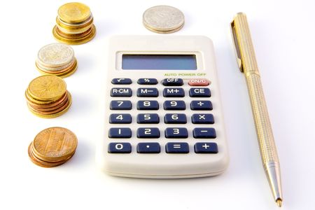 Calculator, coins and pen isolated on white background Stock Photo - 3890944