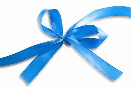 Blue ribbon with path isolated on white background photo