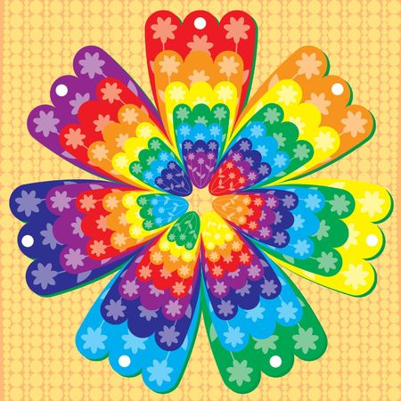 Rainbow ornament with flower elements Vector