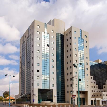 blue facades sky: City modern building