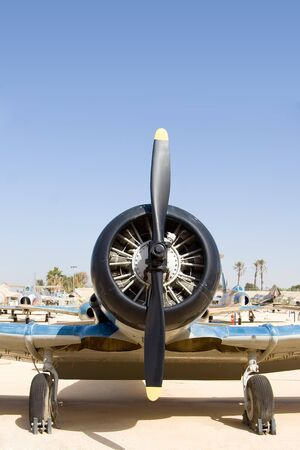 Historical aircraft with black propeller photo
