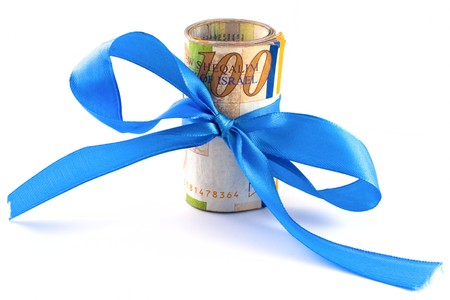sheqel: Israeli New Sheqel with blue ribbon on white background