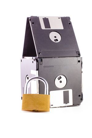Floppy disks with padlock isolated on white background photo
