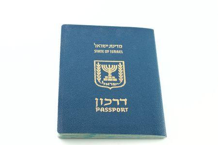 Israeli passport isolated on white background photo