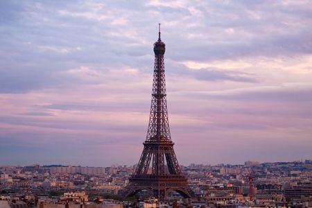 Paris aerial view from triumphal arch Imagens