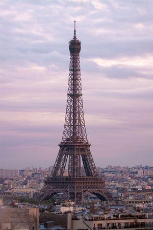 Paris aerial view from triumphal arch photo