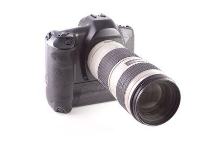 Professional SLR camera isolated on white background photo