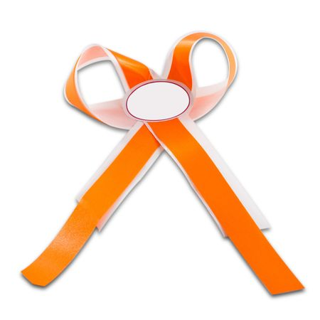 Orange ribbon isolated on white background photo