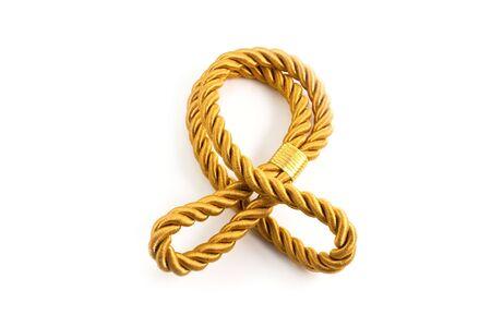bonding rope: Golden rope isolated on white background Stock Photo