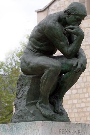 thinker: The Thinker by Rodin in Paris museum Stock Photo