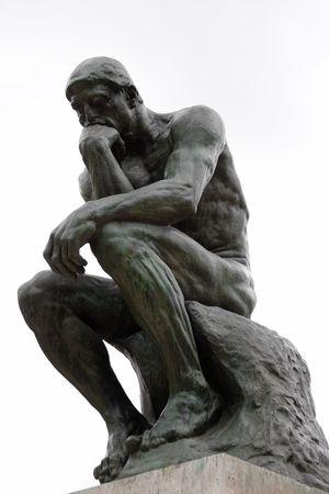 denker: De Denker van Rodin in Parijs museum geïsoleerd op witte achtergrond Stockfoto