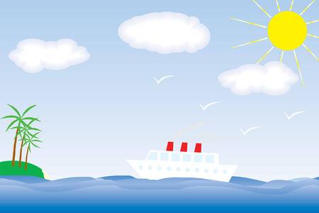 Vector ship over the blue sea Stock Vector - 5359505