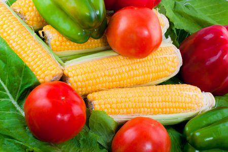Ripe vegetables isolated on white background photo