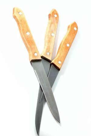 Kitchen knifes isolated on white background photo