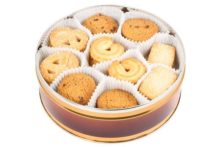 Round box with cookies isolated on white background Stock Photo - 5681049