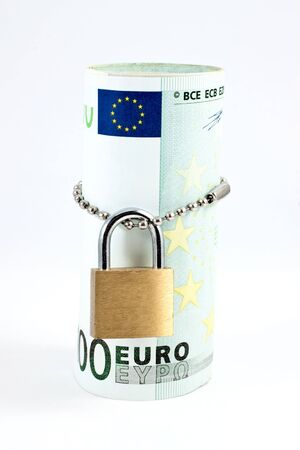 Euro with padlock isolated on white background photo