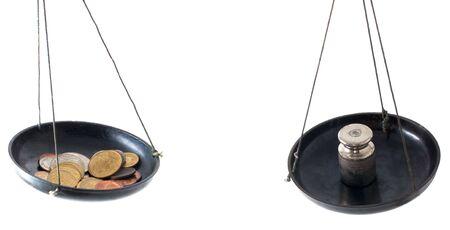 balanza de laboratorio: Equilibrio de laboratorio con monedas aislados sobre fondo blanco  Foto de archivo