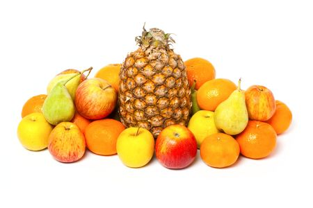 Heap of fruits isolated on white background photo