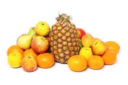 Heap of fruits isolated on white background photo