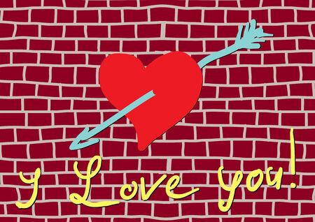 graffiti I love you on brick wall Vector