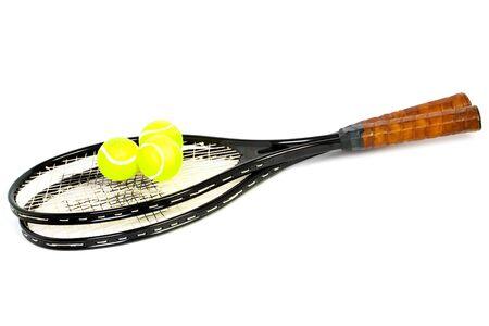 tennis racket: Balls on tennis racket isolated on white background Stock Photo