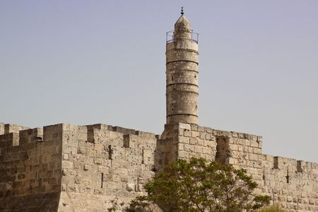 Tower of david, at the old city walls of Jerusalem photo