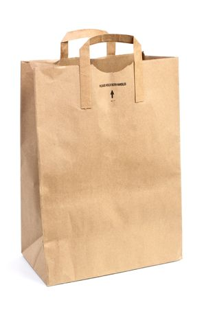 carryall: Paper shopping bag isolated on white background