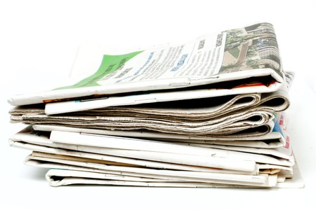 Newspapers isolated on white background