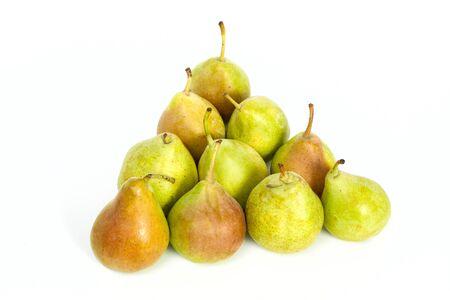 piramide alimenticia: Familia de peras aislado sobre fondo blanco