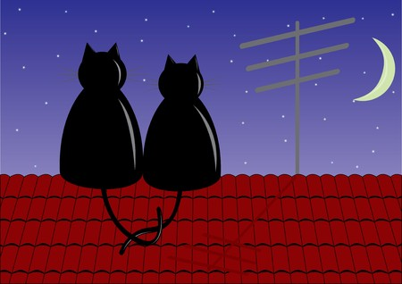 Couple cats sitting on roof Stock Vector - 7445310