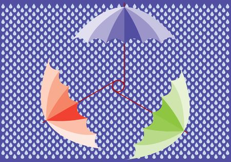 three colored: Three colored vector umbrellas over drops Illustration